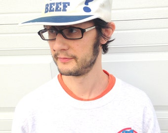Where's the Beef? 80s Baseball Cap Hat in Blue and White . trucker hat . flat bill .