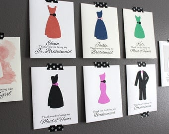 Bridesmaid Thank You Card/ Personalized Bridesmaid Card/ Maid of Honor Card/ Jr Bridesmaid Card/ Groomsman Card/ Best Man Card