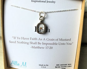 Silver Faith Mustard Seed Necklace with Quote Scripture - Faith Charm, Inspirational Jewelry, Simple Everyday Necklace,