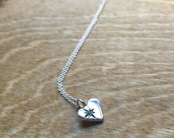 Emerald Starlight Heart Pendant in Sterling Silver