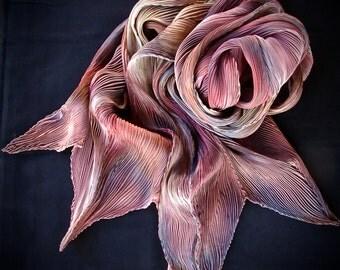 Turkeys - Arashi Shibori Hand Dyed & Hand Pleated Silk Scarf/Shawl