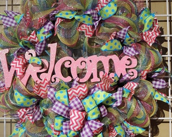 Front Door Welcome Mesh Wreath, Colorful Everyday Wreath, Mesh and Ribbon Welcome Wreath, Wall Wreath, Light and Airy Wreath