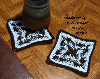 Blue and Brown Coaster Set of 2 - Handmade Graphic Design Crochet Coasters - Crochet Art Decor - Rustic Home Decor - Kitchen Decor