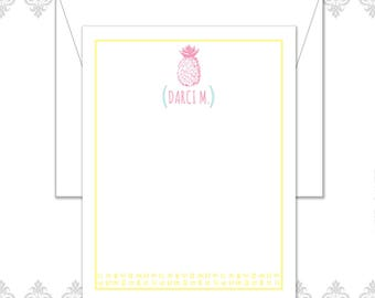 Pineapple Stationery Set of 10 with envelopes, Pineapple drawing, Pineapple note cards, Pineapple Card, colorful pineapples, retro pineapple