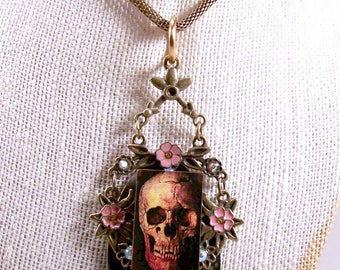 Old Spoon Flip Day Of The Dead Style Art Necklace Original Artisan Costume Jewelry Handmade Funky Psychobilly Repurpossed Outsider Art OOAK