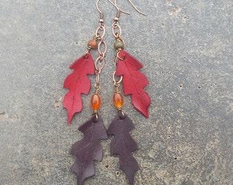 Falling Leaf Leather Earrings - Red Oak, Autumn Leaves in Crimson and Burgundy - Long Dangle Earrings with Carnelian and Jasper