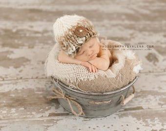 Baby Hat, Chunky Wool Hat, Newborn Photo Props, Baby Boy Hat,  Knitted Hand Spun Wool
