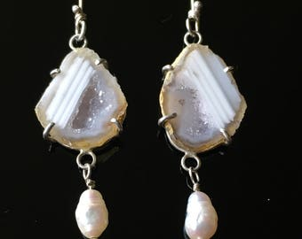 Mini White Geode with Pearl earrings in sterling silver, wedding, white party, crystal