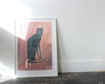 Cat on Pink || Large Faye Moorhouse Poster Print