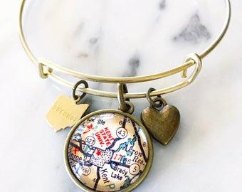 Kent State University Map Charm Bangle Bracelet - Personalized Map Jewelry - Stacked Bangle - Ohio - Midwest - Student - Alumni - Graduation