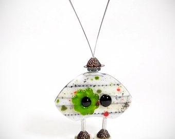Robot Sculpture Fused Glass Kilnformed Mixed Media Decor Handmade Original Art Sterling Silver Wire Wrapping Steampunk Industrial