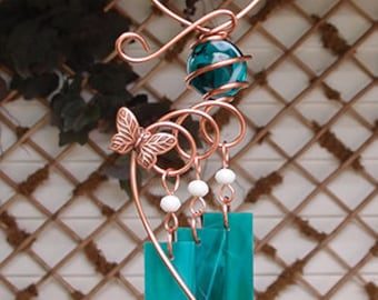 Butterfly Windchime Glass Wind Chimes Copper Garden Lawn Yard Art Sculpture Stained Glass Ornament Metal Teal