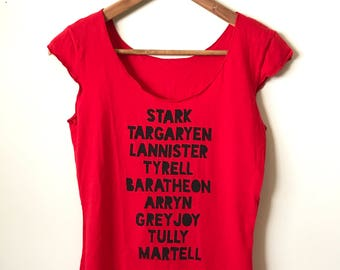 SALE Size SMALL. Game of Thrones Shirt- House Names, American Apparel Women's Cap Sleeve Tee. Ready To Ship