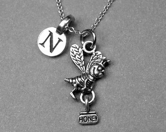 Tiny Honey Bee Necklace, Bee charm, Bumble bee necklace, Initial Necklace, Personalized Necklace, Initial Charm, Gift for her, monogram