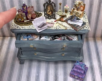 one inch scale handmade ooak dollhouse Victorian ladies dresser with lots of accessories