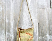 Leather Tribal Arrow Carpet Bag from Beige Anatolian Textile by Stacy Leigh