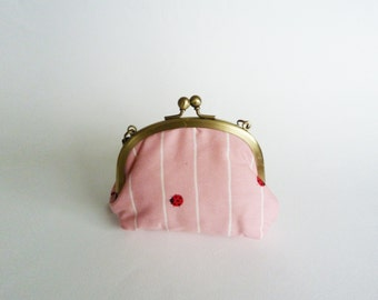 Coin purse, pink and white cotton ladybird fabric, cotton bag
