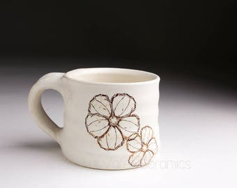 Ceramic Coffee Cup - Stoneware Mug- Tea Cup - White Pottery Coffee Mug