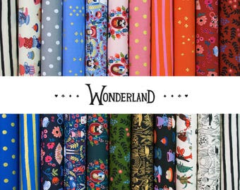 Wonderland Fat Eighth Bundle - by Rifle Paper Co for Cotton + Steel Fabrics - complete quilting cotton collection, 21 prints