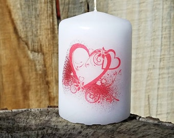 Valentine's Day Hearts 2x3 Pillar Candle