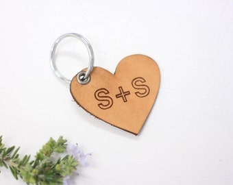 Valentine's Day, Heart Key Chain, Leather Keychain, Custom Order, Valentine's Gift, Leather, Keychain, Couples Gift