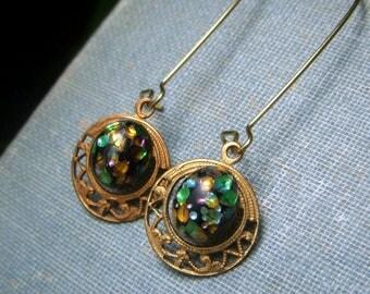 Vintage Inspired Earrings, Multi Color Japanese Foil Glass Cabochon Earrings on Brass, Vintage Cherry Brand, Rainbow Black Glass Earrings