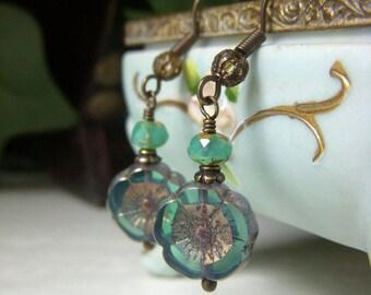 Seafoam Teal Floral Earrings, Czech Glass Earrings, Brass Flower Earrings, Czech Glass Beads, Blue Green Flower Earrings