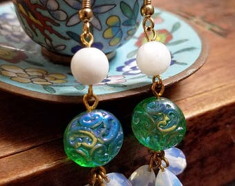 Mermaid's Vanity - glass sea opal shell brass gold plated