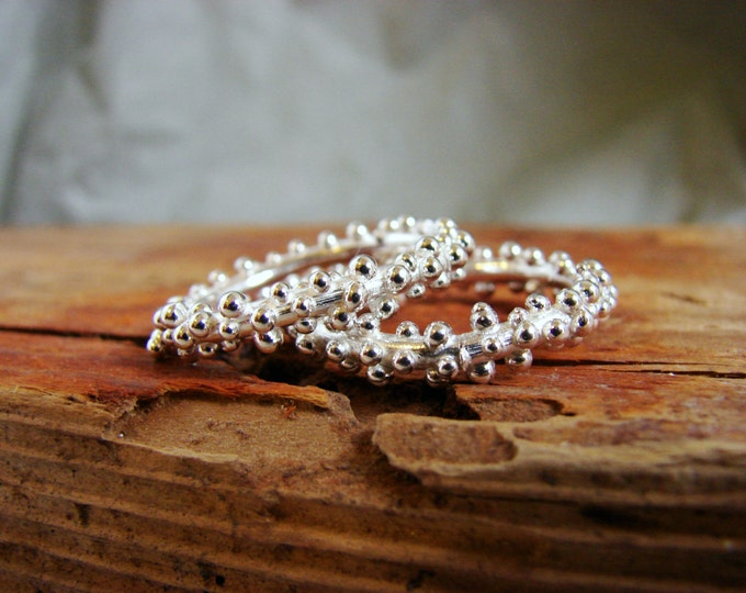 Bubbly Stack Rings Sterling Silver Granulated Rings Dew Drops