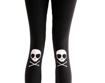 Agoraphobix Skully Knee Pad Skull Print leggings
