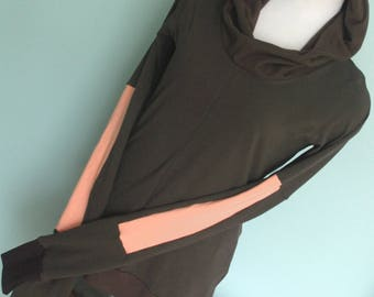 Sale item/Discount price/Size MEDIUM/Ready to ship/Hooded top with extra long sleeves/Dark olive with brown and peach