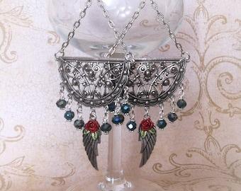 Red Roses and Wing Earrings Green Teal Crystals  Bohemian Long Earrings Boho Gypsy Angel Wings Earrings By Red Gypsy Jewelry