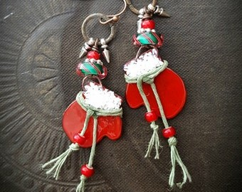 Christmas Earrings, Holiday Earrings, Santa Mittens, Enameled Charms, Artisan Made, Lampwork Glass, Beaded Earrings