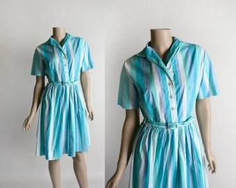 Vintage 1950s Striped Cotton Dress - 1960s Style Lavender White Teal and Sea Foam Green Stripes Belted Shirtdress Day Dress - Medium