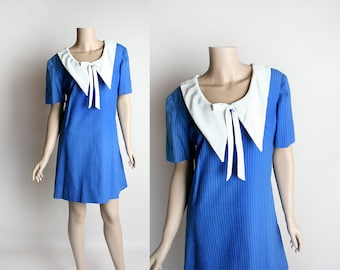 Vintage 1960s Mini Dress - Sailor Dress - Nautical Striped with White Pointy Collar Neckline - Twiggy Style - Royal Blue - Small Medium