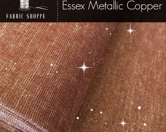 Essex Fabric, Gold fabric, Linen Blanket Fabric, Metallic fabric, Sparkle Fabric, Linen Skirt Fabric, Essex Linen, Metallic Essex in Copper
