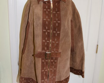 SALE Vintage 1970's Short Suede Leather Cape with Cutaway Trim Small