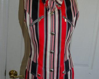 Red White and Blue Striped Vertigo Paris Sleeveless Waistcoat Style Tunic Shirt