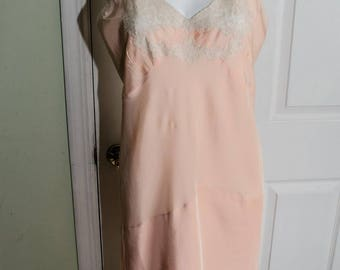 Vintage 1940's Peach Rayon Slip with Illusion Lace Bodice