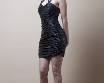 Wet look Ruched Mini Dress -Made to Measure (Your Size)