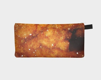 Amber Geode Cosmetic Case Printed Crystal Makeup and travel Bag