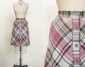 1970s Plaid Skirt --- Vintage Button Up Skirt