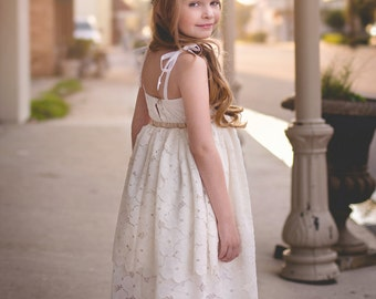 Flower Girl Dress, Lace Flower Girl Dress, Boho Flower Girl Dress, Rustic Flower Girl Wedding, Toddler Flower Girl, Bohemian Flower Girls