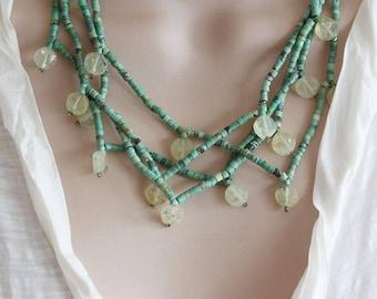 Turquoise Multi Strand Necklace Gemstone Statement Necklace Turquoise Jewelry