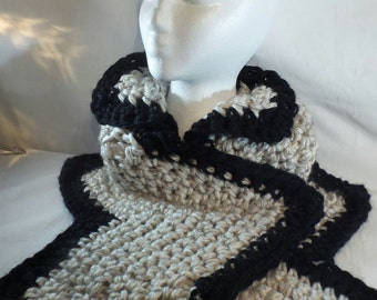 Crochet Neck Warmer Chunky Crochet Cowl Scarf Black Tan neck-warmer Chevron Crochet Scarf