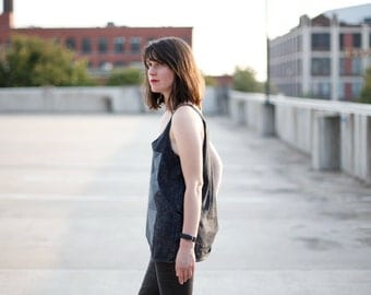 The Palindromes - womens LOOSE FIT tank top - stonewashed black cotton - OVERSIZED slouchy tank - flowy geometric shirt - Limited Edition