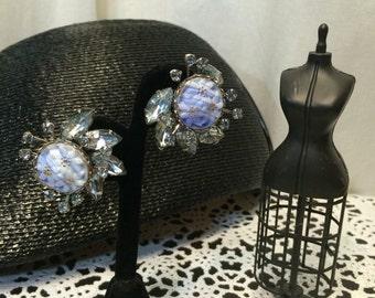 Blue Judy lee  1950s rhinestone clip on Vintage Earrings starburst