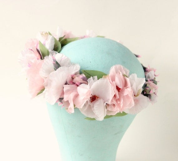 Pink Peony Crown, Silk blossom wreath, Pink and white flower crown, Boho bridal hair, Floral bridal headpiece