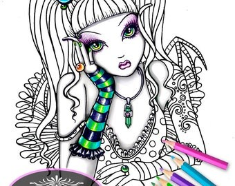 Emily Crystal Ball Fairy Digital Download Coloring Page Myka Jelina Art