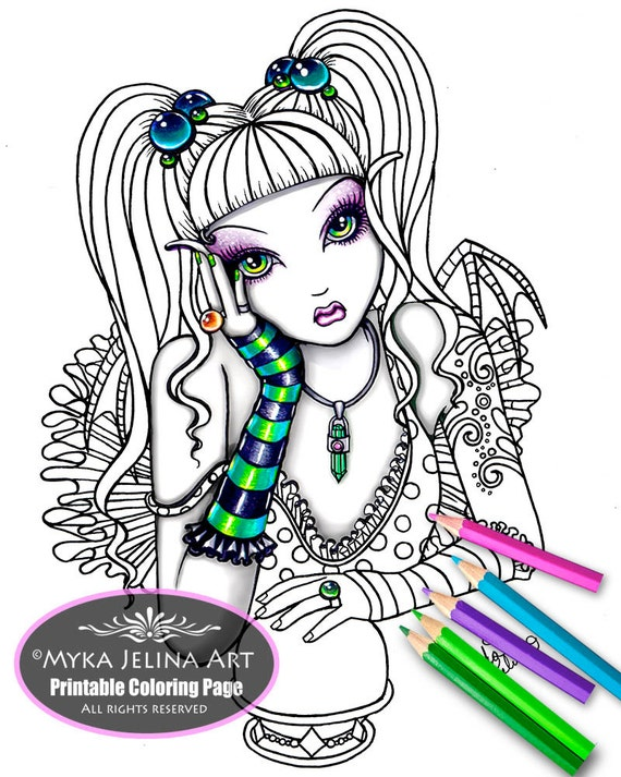 Emily crystal ball fairy digital download coloring page myka for Myka jelina coloring pages